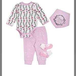 NWT Chick Pea 4-pc. Pink Floral Baby Girl Outfit
